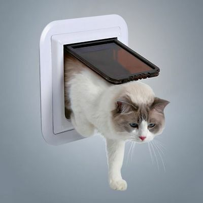 Cat Door Flap XL Especially for Glass 4 Way Magnetic Lockable White Frame TRIXIE