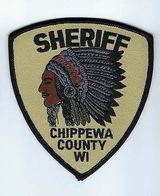 Chippewa County WI Wisconsin Sheriff Dept. *SUBDUED* patch - NEW! *INDIAN CHIEF*