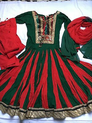 Ladies Anarkali Dress Size Extra Small Green And Red Outfit Used