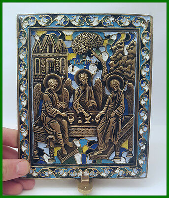 Large Russia Orthodox bronze icon The Old Testament Trinity.  Enameled! 19th. c