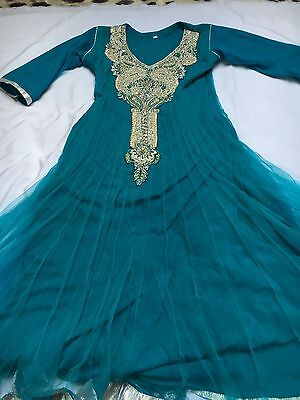 Ladies Bollywood Indian Churidar Dress Turquoise Blue Outfit Used Anarkali