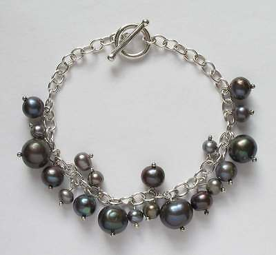 Tahitian pearl & sterling silver toggle bracelet