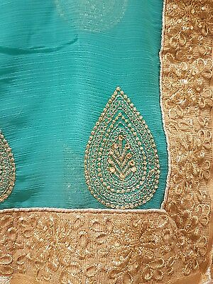 Turquoise and Gold Indian Saree Brand New with Tags