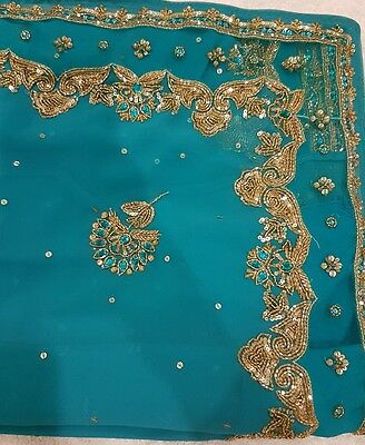 Turquoise and Gold Indian Saree Brand New