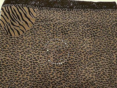 Animal Print Black and Grey Saree with Sequins