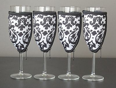 Vintage White champagne glass coolers x 4