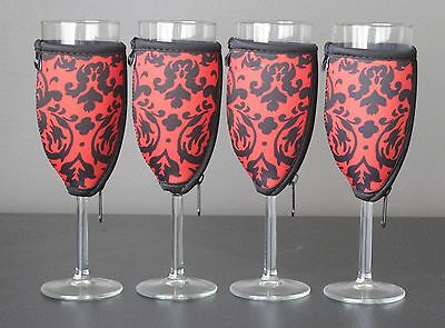 Vintage red champagne glass coolers x 4