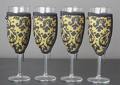 Vintage Gold champagne glass coolers x 4