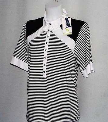 New Ladies Daily Sports XDS short sleeve striped golf polo shirt Large