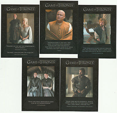 2016 Game of Thrones Season Five Quotables - 5 Card Lot * #'s 41-43, 45 & 48 *