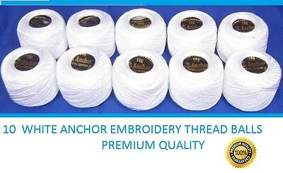 anchor pearl Cotton embroidery thread crochet balls size 8 , 85m white
