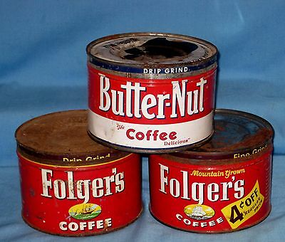 Vtg  Lot 3 Empty Folgers/Butternut Coffee Tin Can