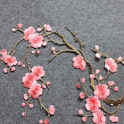 Lovely Embroidered Plum Blossom Flower Patch Iron/Sew on Applique Motif Craft MI