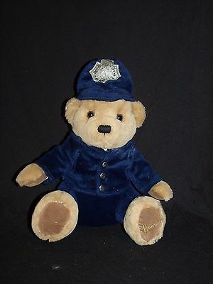 Harrods Police Blue Teddy Bear Sitting Plush Exclusive Knightsbridge London 11""