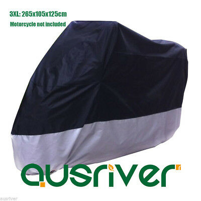 Extra Large Black&Sliver UV Resistant Motorbike Cover Windproof Clip 265x105x125