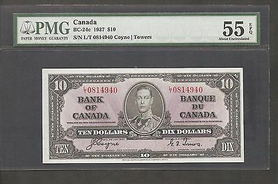 1937 $10 Bank of Canada  PMG AU-55 EPQ  A VERY NICE NOTE
