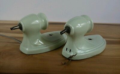 Vintage Sconces pair 1950s Green Jade porcelain wall lights Bath Kitchen Bedroom