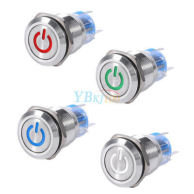 19mm 12V LED Waterproof Self-locking Latching Type Push Button Power Switch