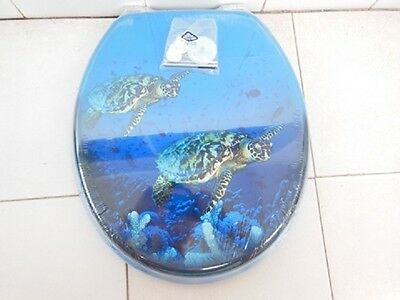 1X New Blue Ocean Turtle Toilet Seat & Cover