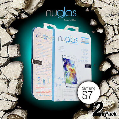 2 X Genuine Nuglas Tempered Glass Screen Protector for Samsung Galaxy S7 9H