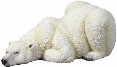 "9.25"" Wild Polar Bear Sleeping Wildlife Statue Animal Decor Figure Sculpture"