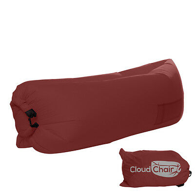 Inflatable Nylon Air Bag Bed Sofa Lounge Lay Relax Original Cloud Chair Red
