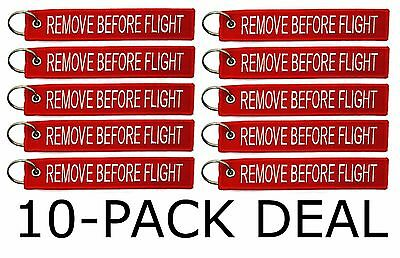 PACK OF 10 Remove Before Flight Keychain Aviation Tags 1 FREE EXTRA (11 Total)