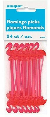 Plastic Cocktail Sticks Flamingo 3 Inches Long Pink Frozen Drink Pack of 24 NEW