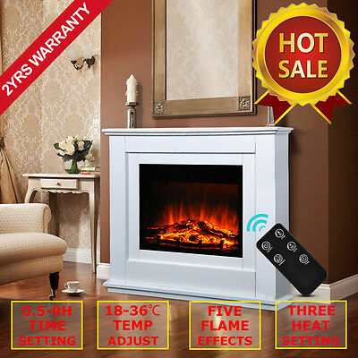 Castleton Electric Fireplace Light Cream MDF Fire Surround Remote Control Suite