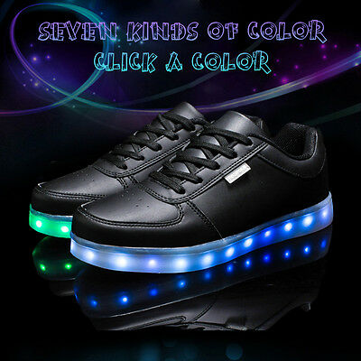 Unisex 7 LED Light Lace Up Luminous Sportswear Sneaker Casual Shoes 38 Black
