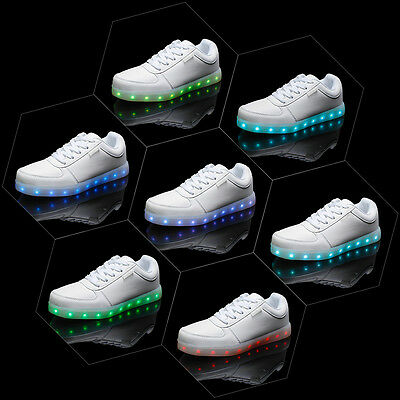 7 LED Light Lace Up Luminous Shoes Sportswear Sneaker Casual Shoes 37 White