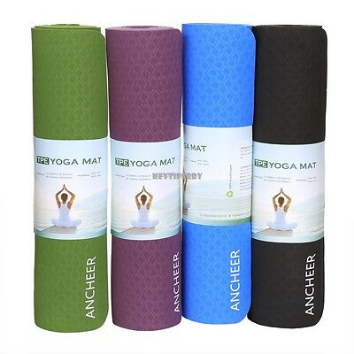 ANCHEER Yoga Mat Fitness Physio Pilates Exercise Workout Pad 8mm Thick Non slip