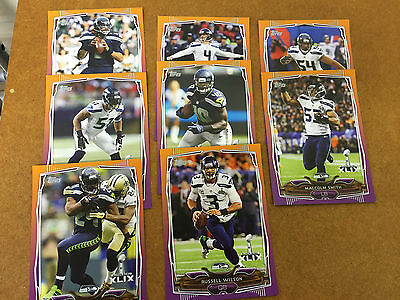 "2015 Set of 8 Topps 7"" X 5"" NFL Seattle Seahawks Super Bowl XLIX 49 Cards"