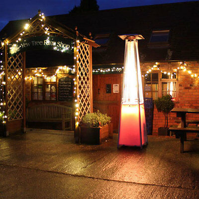 2.27 Meter Tall Outdoor Patio Pyramid Flame Heater with LED Lights