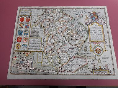 100% Original Large Lincolnshire Map By John Speed C1676 Vgc Hand Coloured