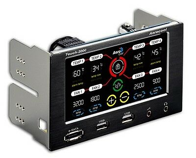 Aerocool Touch 2000 LCD Touch Screen 4 Fan Controller with E-Sata/USB Ports