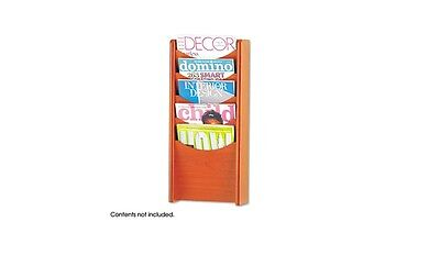Safco 4330CY Solid Wood Wall-Mount Literature Display Rack, Cherry