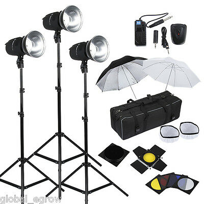 900W Photo Photography Studio Flash Strobe Lights Kit 3x300W Heads Umbrella Set