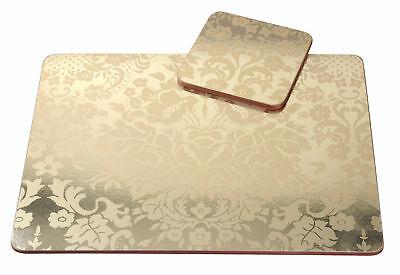 Pimpernel 4 x Damask Gold 30.5cm Placemats & Coasters MDF Cork Back Table Mat