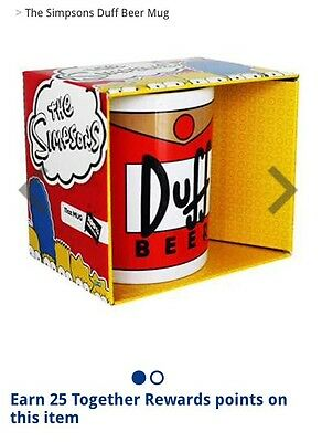 DUFF BEER Simpsons Cup Mug  Homer Christmas Gift Bart Bankrupt Clearance
