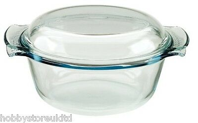 Pyrex Classic Glass 2.5 Litre Round Casserole Dish Bowl Easy Grip Handles New