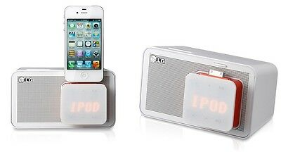 LG ND1520 iPod & iPhone4 Docking Speaker in White with Alarm Clock, FM Radio