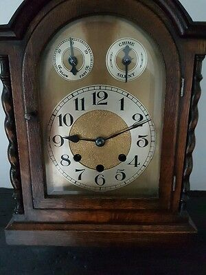 Lovely Old Oak Chiming Mantel Clock - Gustav Becker
