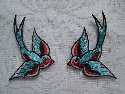 1Pr Gorgeous Iron On Fabric Embroidered Swallows Mirror Image Patch