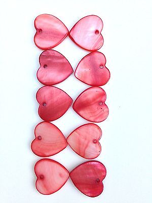 New 10 x 14mm Red Flat Mother-of-Pearl Hearts Front Drilled