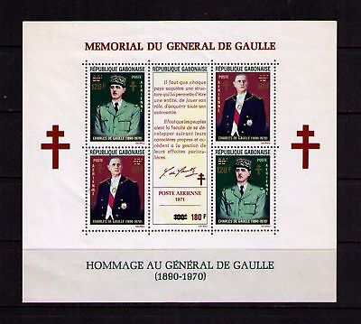 GABON Sc# C126 MNH VF SS Charles de Gaulle Quote Ovpt
