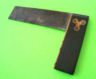 ancient ANTIQUE TRY SQUARE Carpenter Square ROSEWOOD AND BRASS Unusual Design