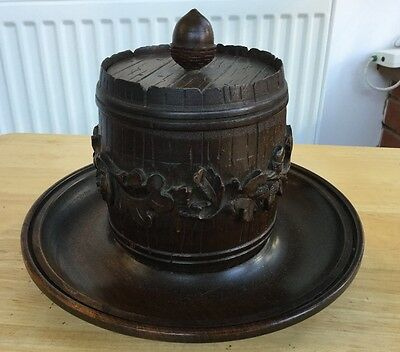 Vintage Tobacco Jar Carved with Oak leaves and Pipe Rest