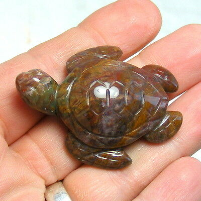 Rainbow Jasper Sea Turtle Hand Carved Gemstone Ornament Carving 4.5cm