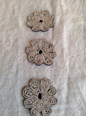 Vintage Art Deco Floral Appliques Silver Embroidery 3pc Authentic 1920s French
